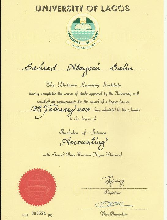 Image result for unilag dli certificate image